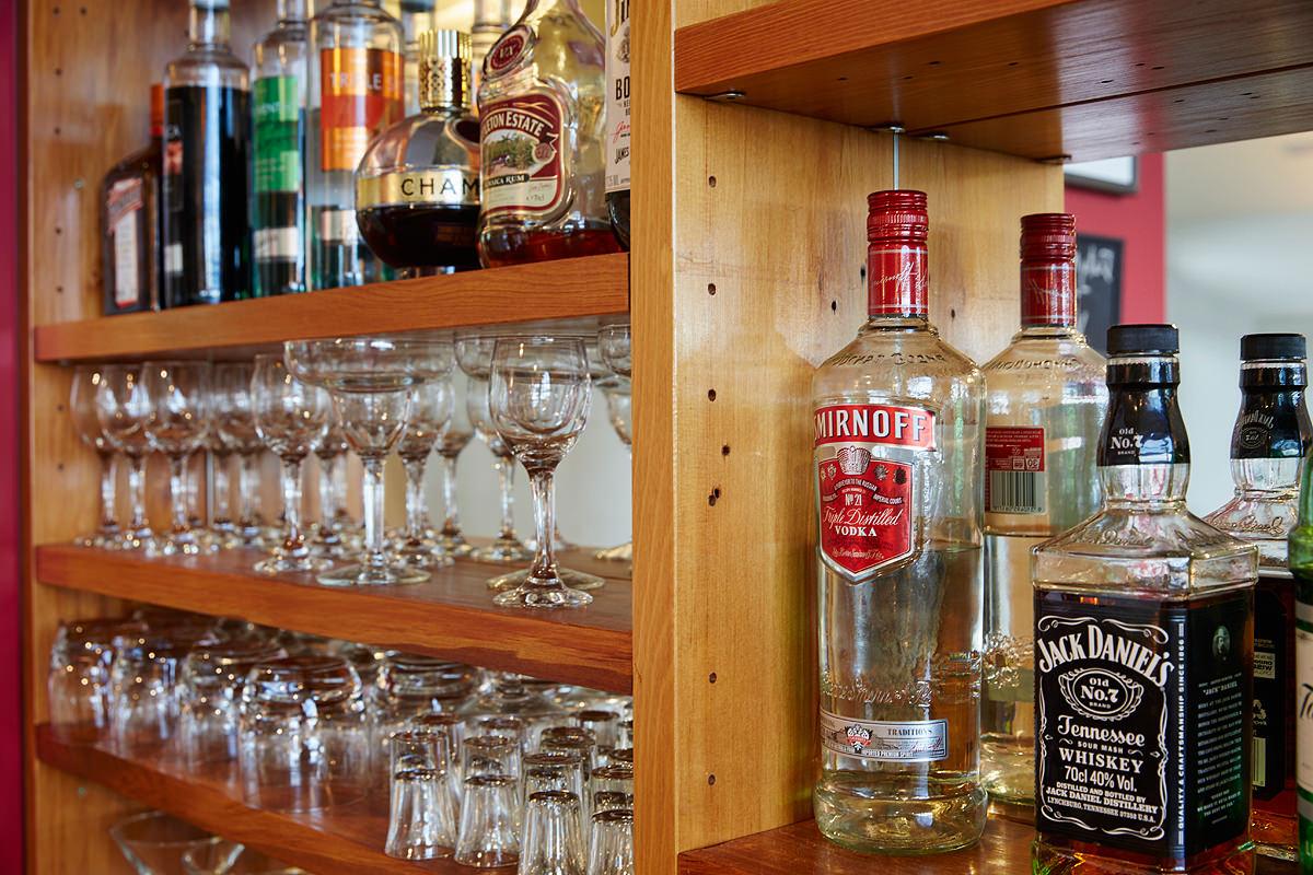 Restaurant bottle and glass shelves