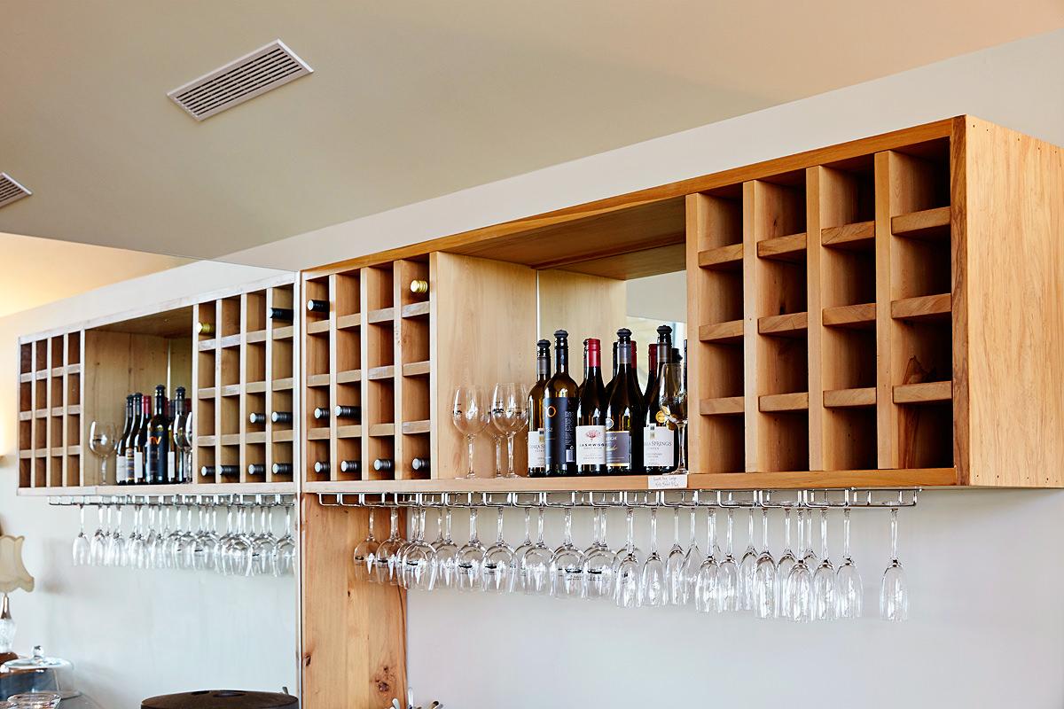 Restaurant wine and glass racks