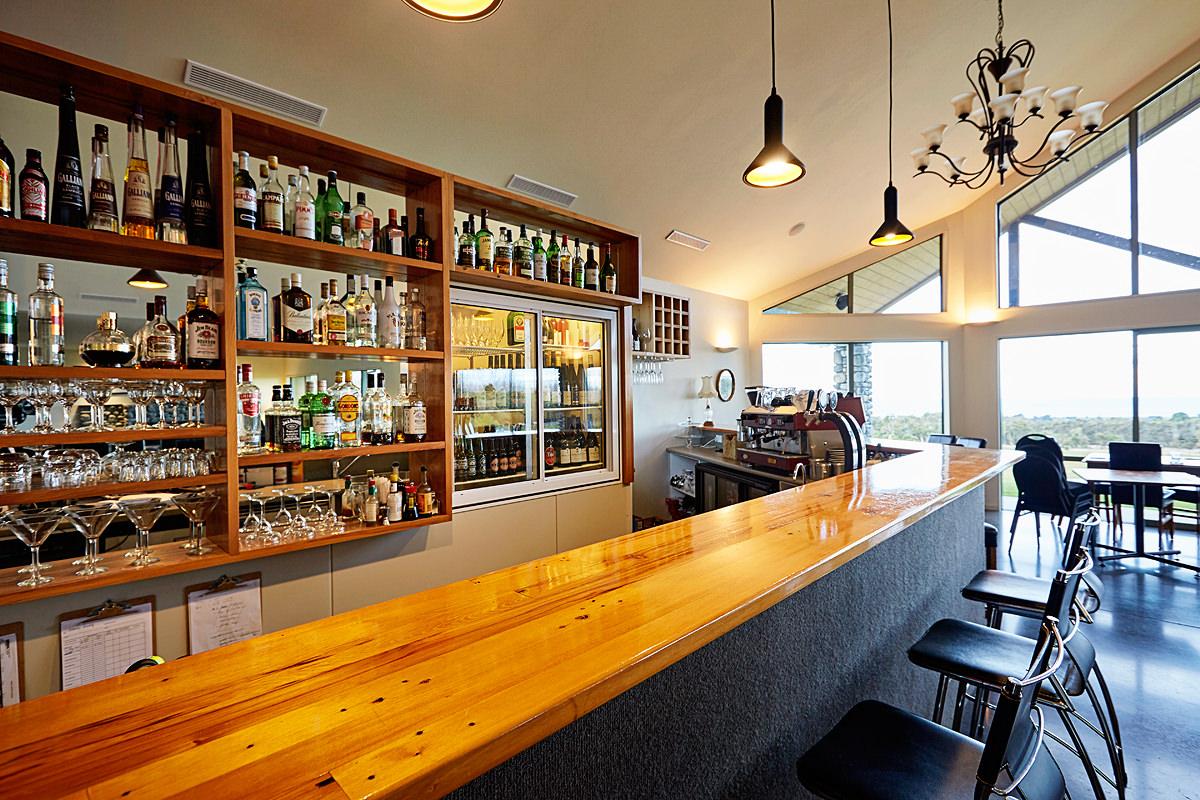 Restaurant bar and display shelves