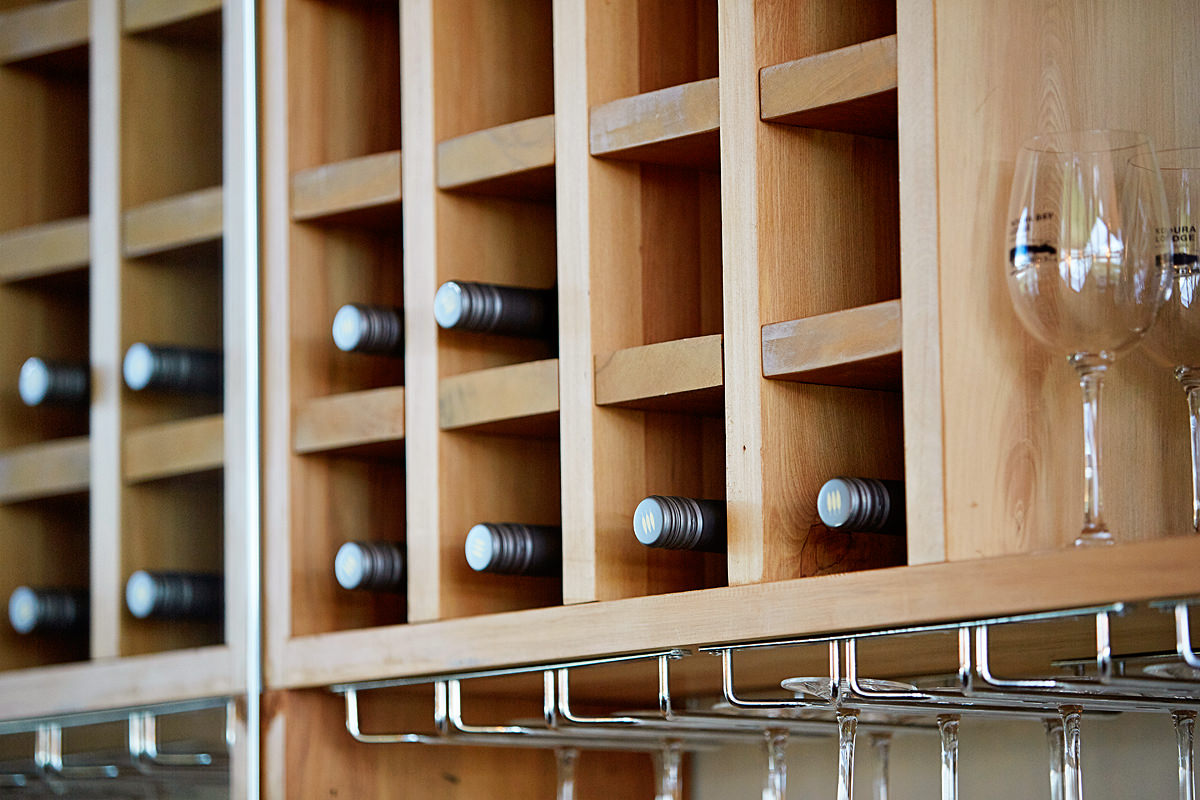 Inbuilt wine storage rack